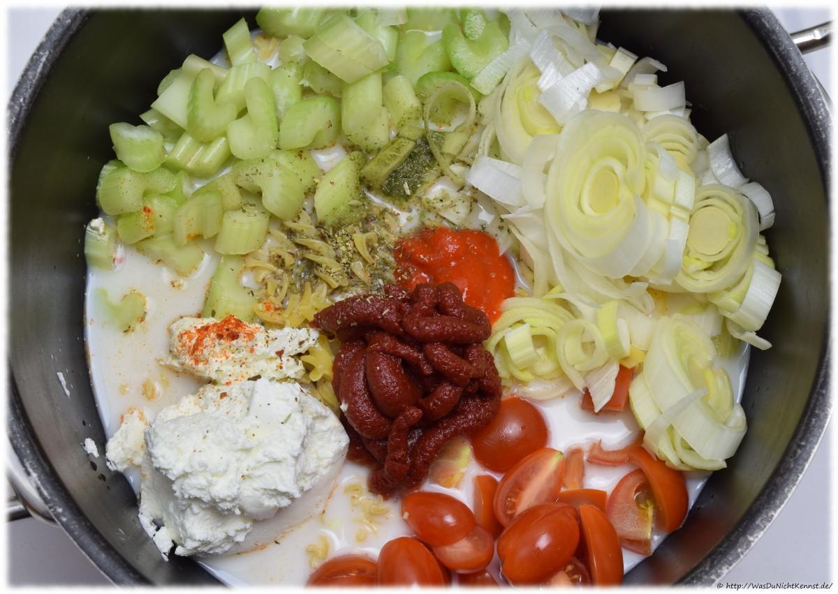 One Pot Pasta - Variation mit Quark und Sellerie - Was du nicht kennst...